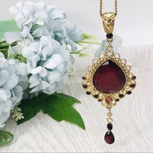 Vintage Victorian Style Red Necklace